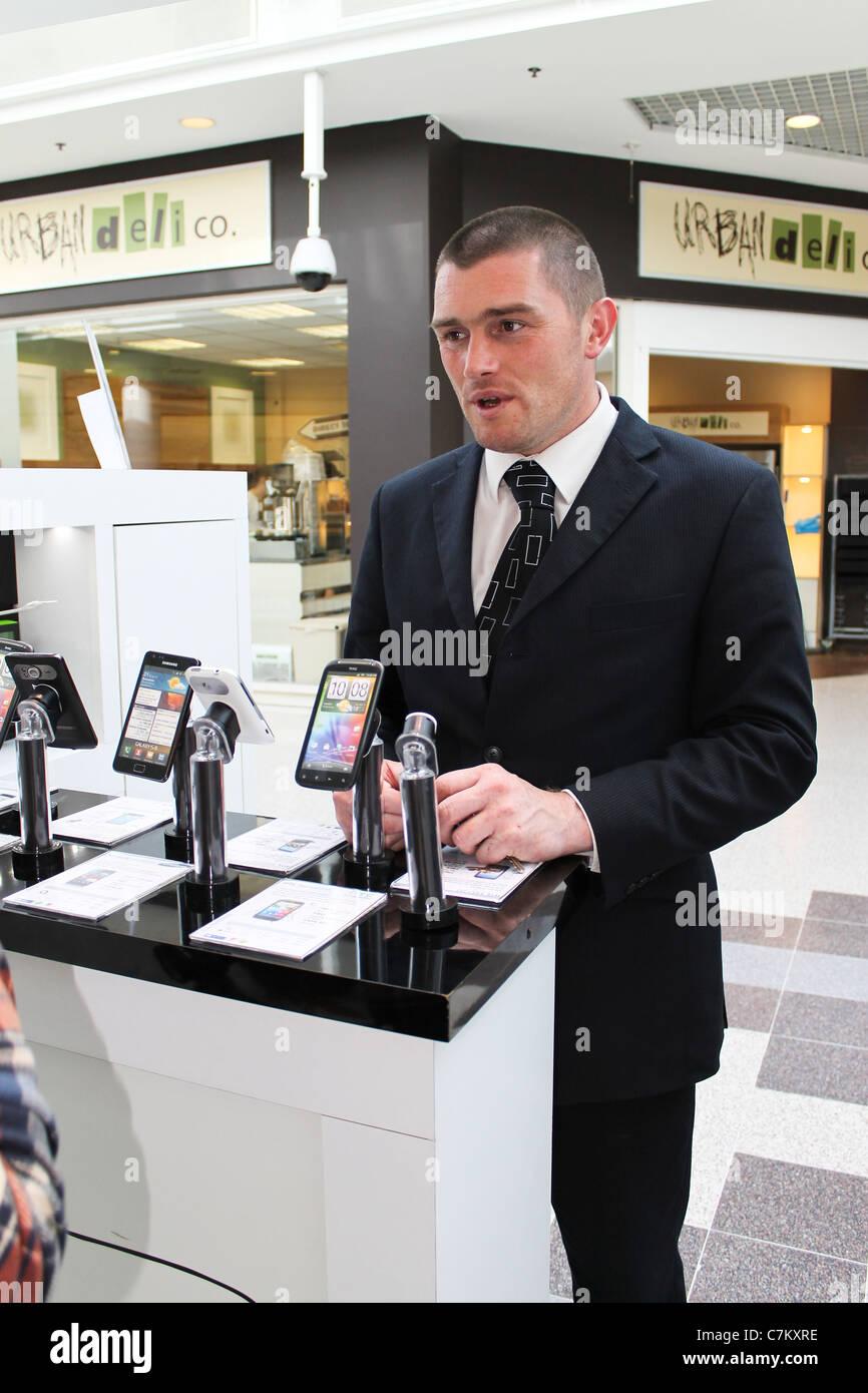 Mobile phone salesman, Sep 2011 - Stock Image