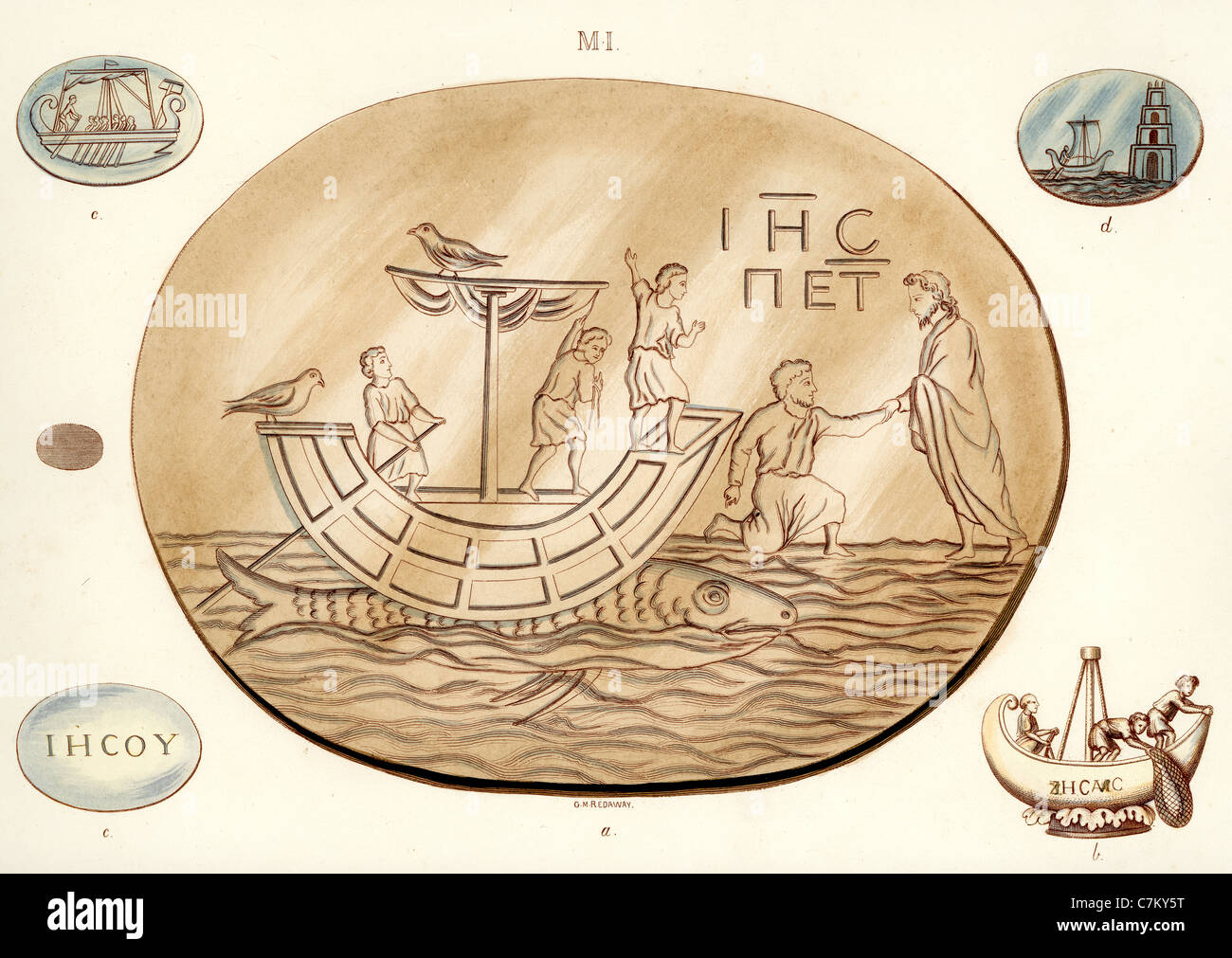 Early Christian Symbolism Illustration From A Seal Showing A Ship