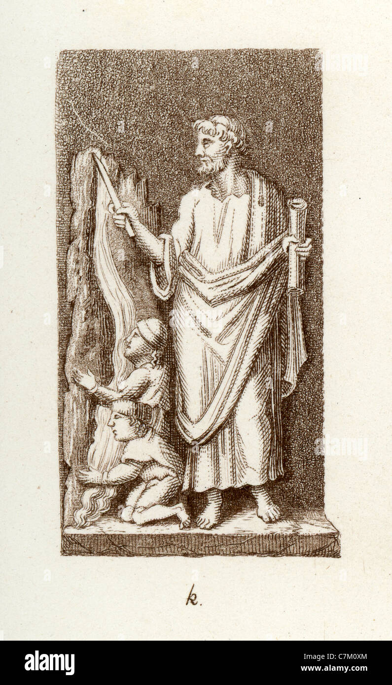 Early Christian symbolism. Illustration from a sarcophagus in the crypts of the Vatican showing Saint Peter striking - Stock Image