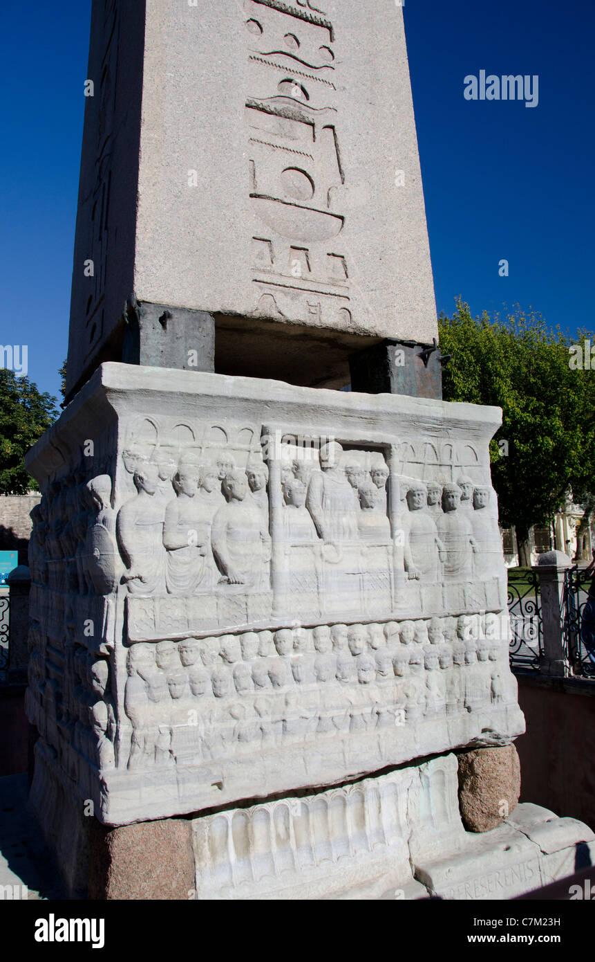 Turkey, Istanbul. The Hippodrome (aka At Meydani). UNESCO. Carved base of Obelisk. - Stock Image