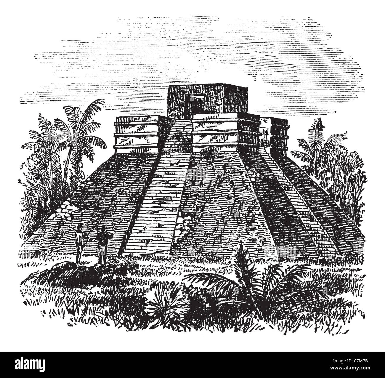 Palenque Pyramid temple in Mexico, during the 1890s, vintage engraving. Old engraved illustration of Palenque Pyramid - Stock Image