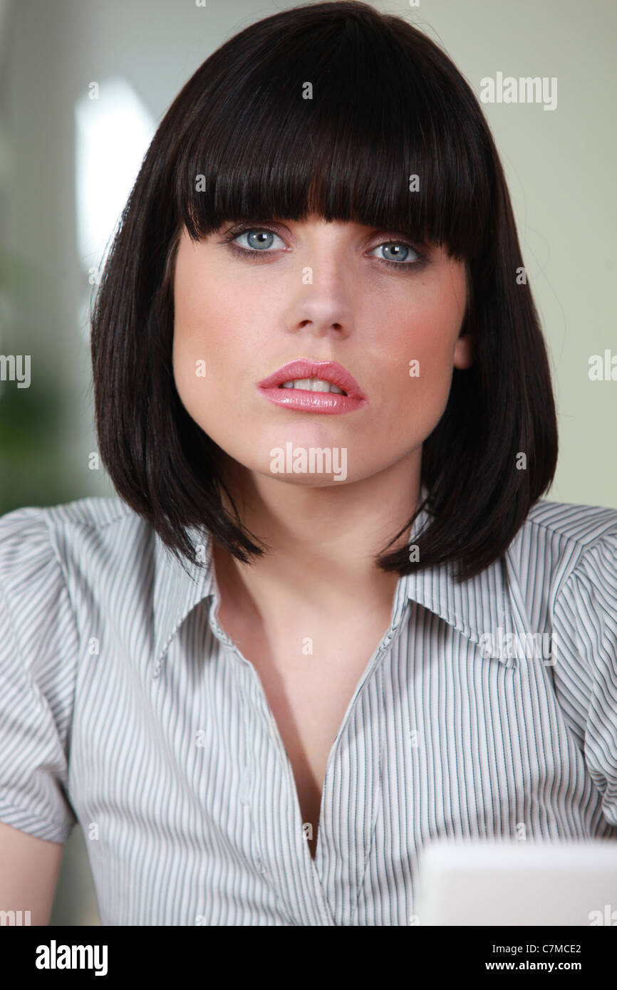 female office worker with a bobbed haircut stock photo: 39172170 - alamy