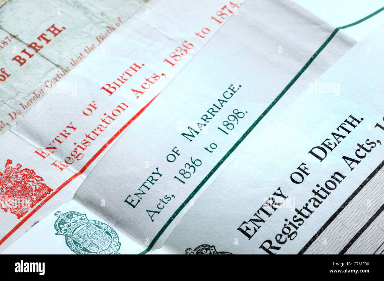 Genealogy documents - Certificates of birth, marriage and death - Stock Image