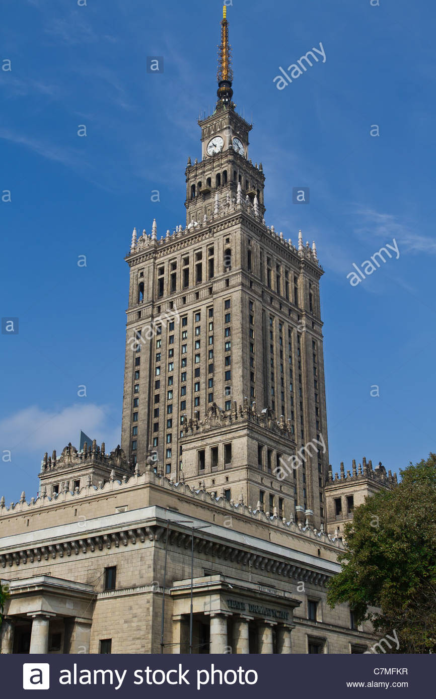 Palace of Culture and Science, Warsaw - Stock Image