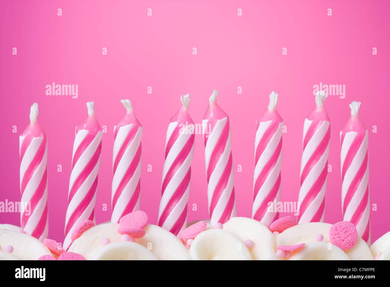 Unlit birthday candles - Stock Image