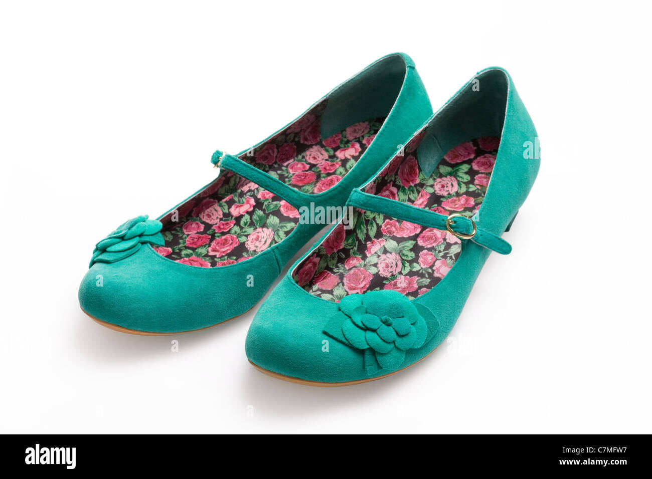 Green suede shoes - Stock Image