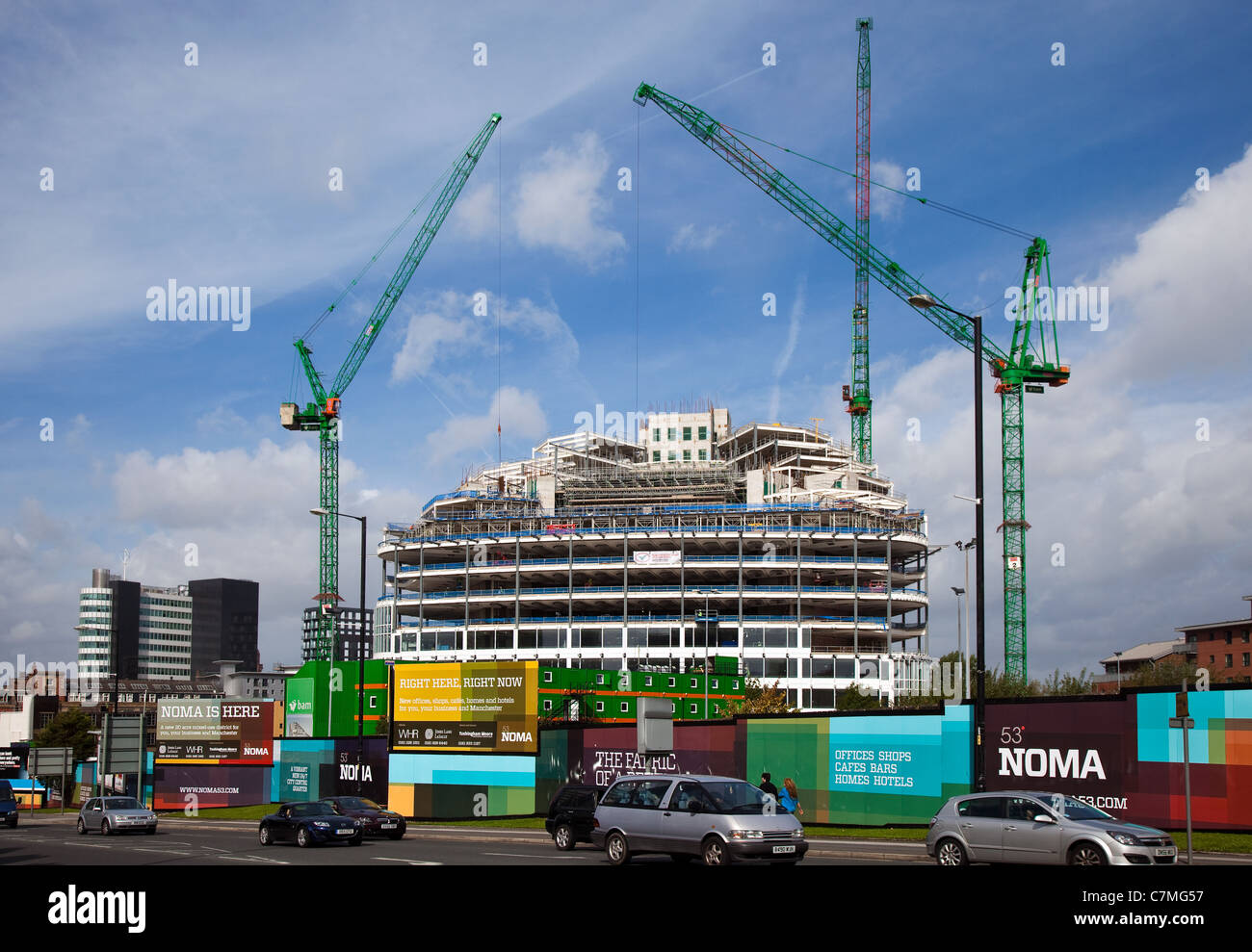 Under Construction _The Glass Walled Building of the new Co-operative Group's head office, One Angel Square  in - Stock Image