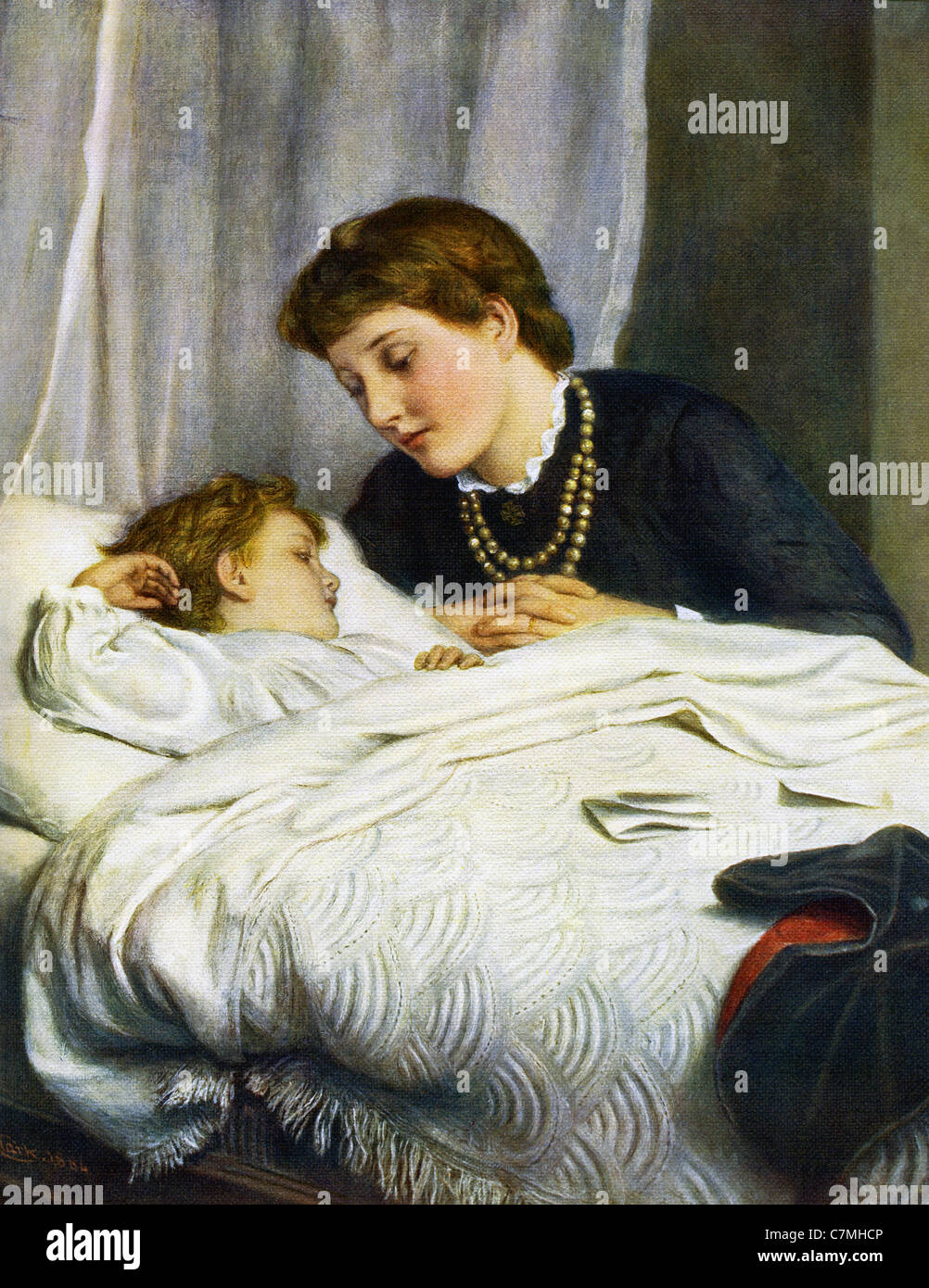 British artist Joseph Clark (1836–1925) specialized in domestic scenes, such as this one titled 'A Mother's - Stock Image