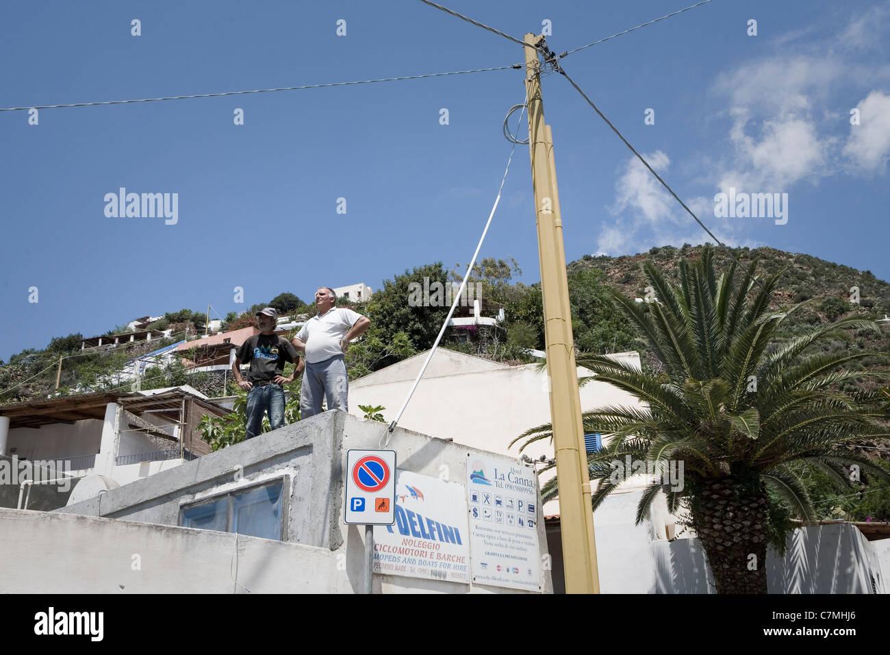 Filicudi, rooftops Stock Photo