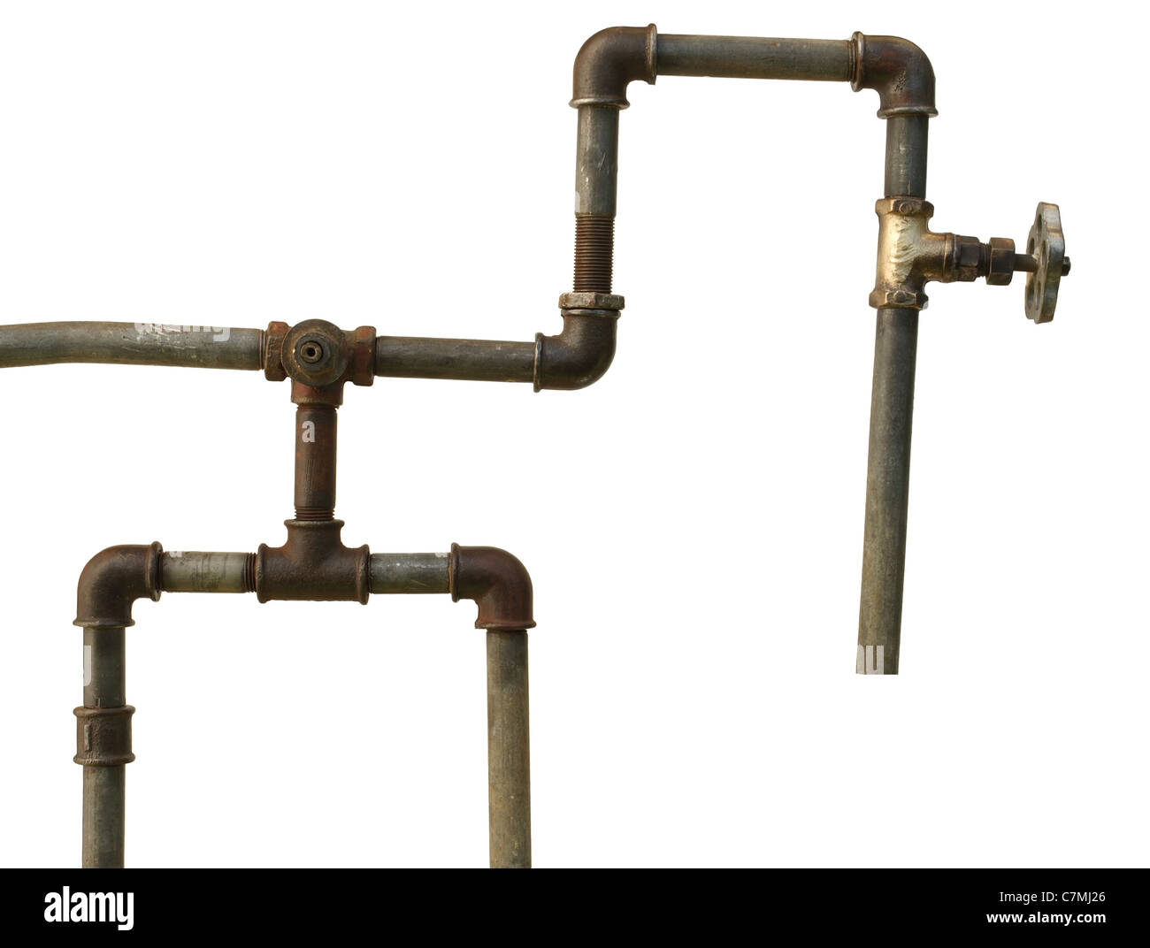 A fragment of the old water conduit consisting of pipes, fittings and valve - Stock Image