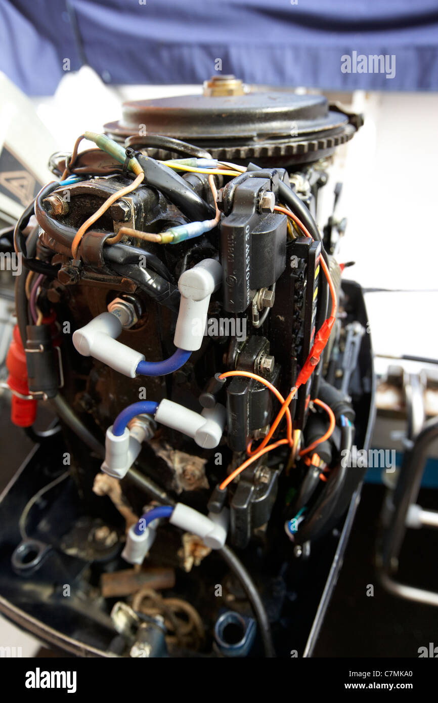 Rear Of An Old 2 Stroke Outboard Motorboat Engine