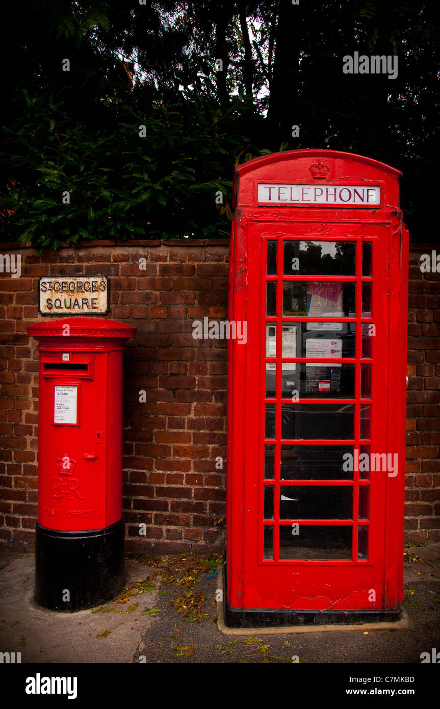 Red Post Box, Red Telephone Box - Stock Image