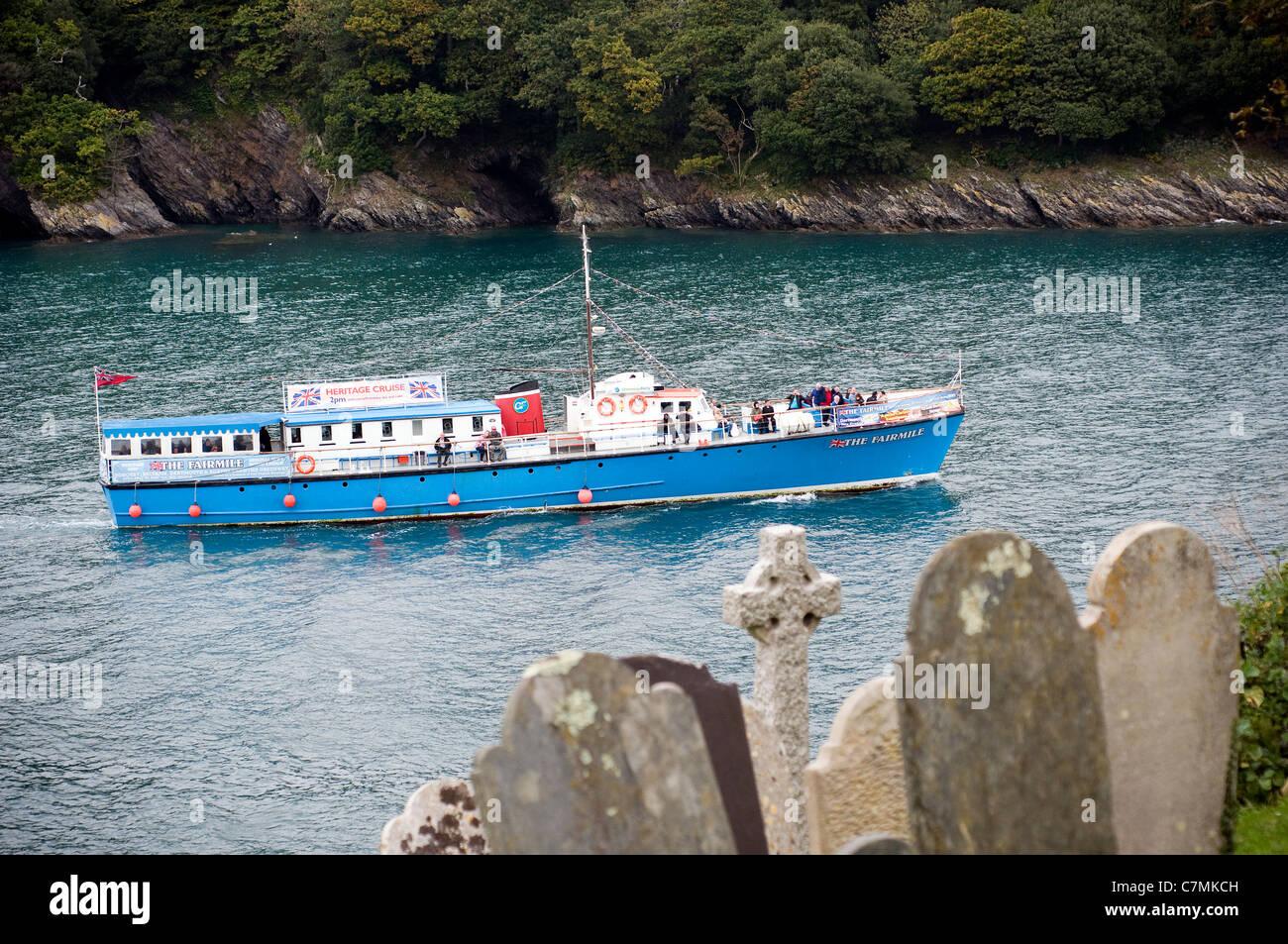 Fairmile passenger tourist ship passes Dartmouth Castle in Dart estuary Dartmouth, Devon England UK GB built by - Stock Image