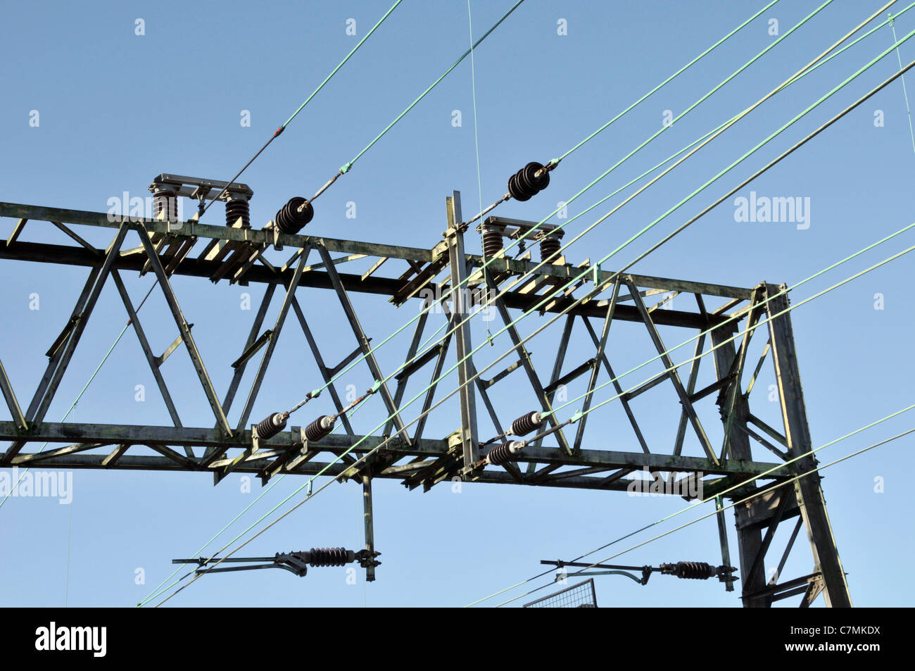 Overhead copper cables with very high scrap value cable typically being stolen at night disrupting railway transport - Stock Image