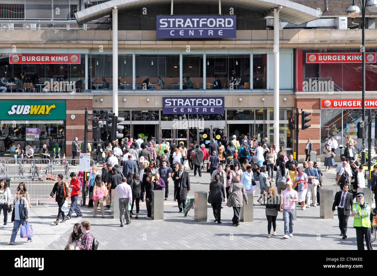 Entrance to the old Stratford Centre shopping mall (Not the Westfield complex) - Stock Image