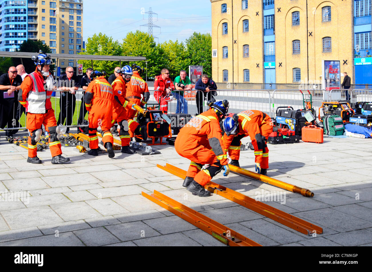 Urban Search & Rescue Fire Brigade emergency services teams competing & being assessed at UK Rescue Challenge - Stock Image