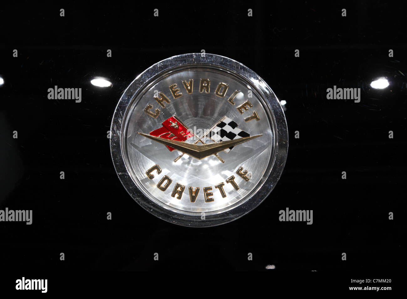 The old Chevrolet Corvette Logo at the 64th IAA (Internationale Automobil Ausstellung) - Stock Image