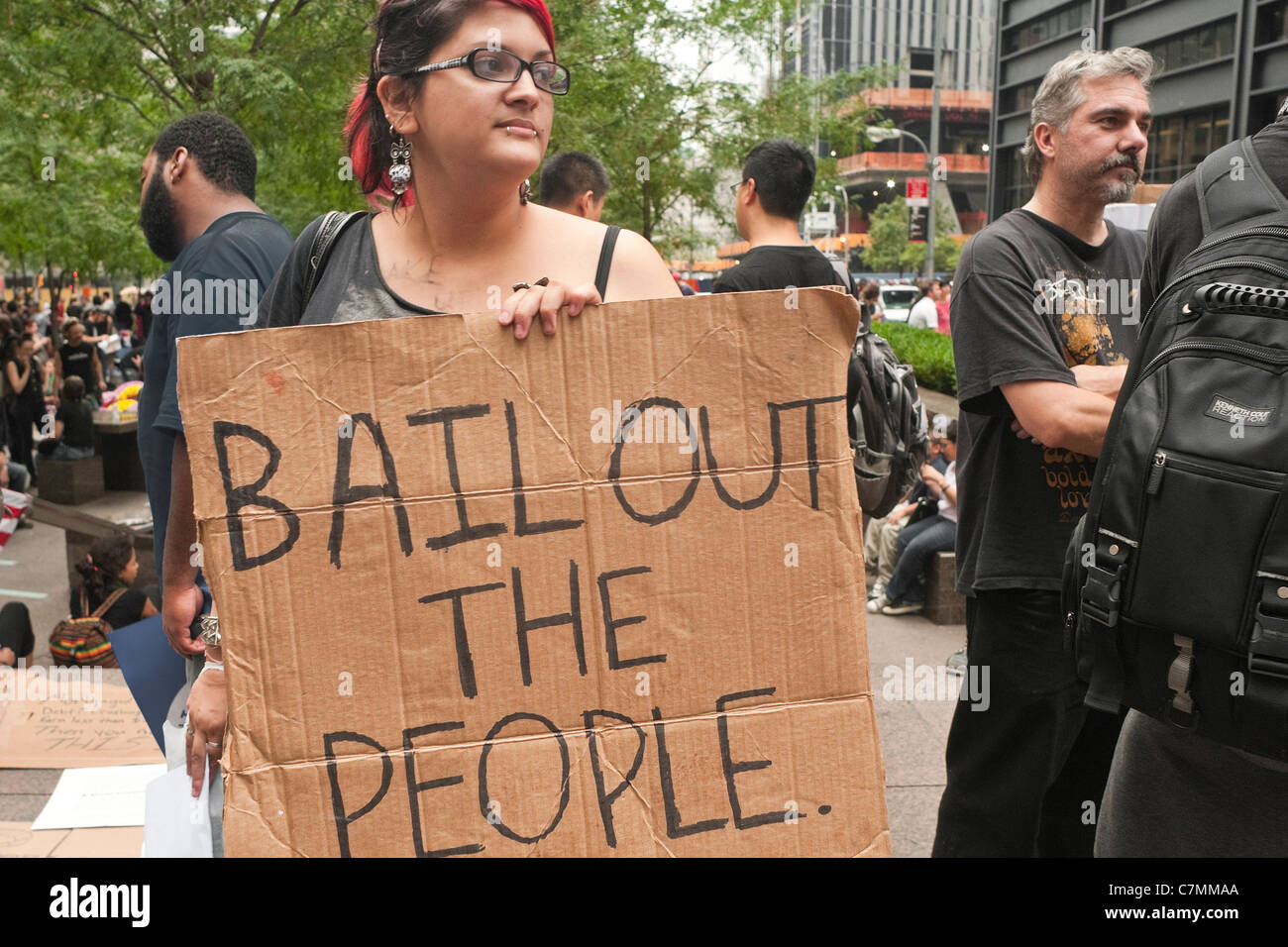 One week since OccupyWallStreet began protesters continue to occupy Zuccotti Park, which they r Stock Photo