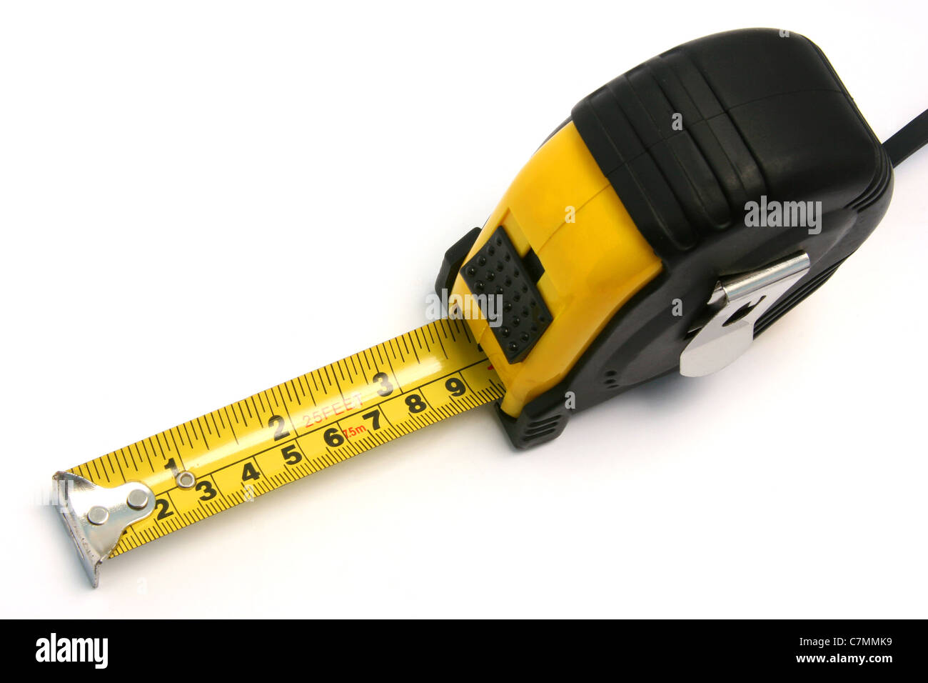 A measuring tape on white background. - Stock Image