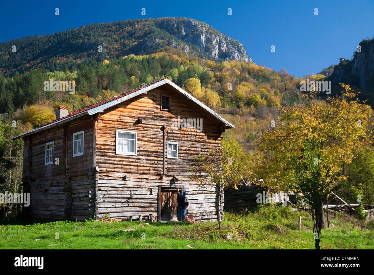 Wooden house in Azdavay Kure Mountains Kastamonu Turkey - Stock Image