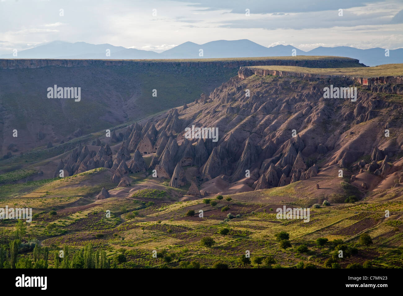 Scenic view of Ihlara Valley with fairy chimneys Turkey - Stock Image