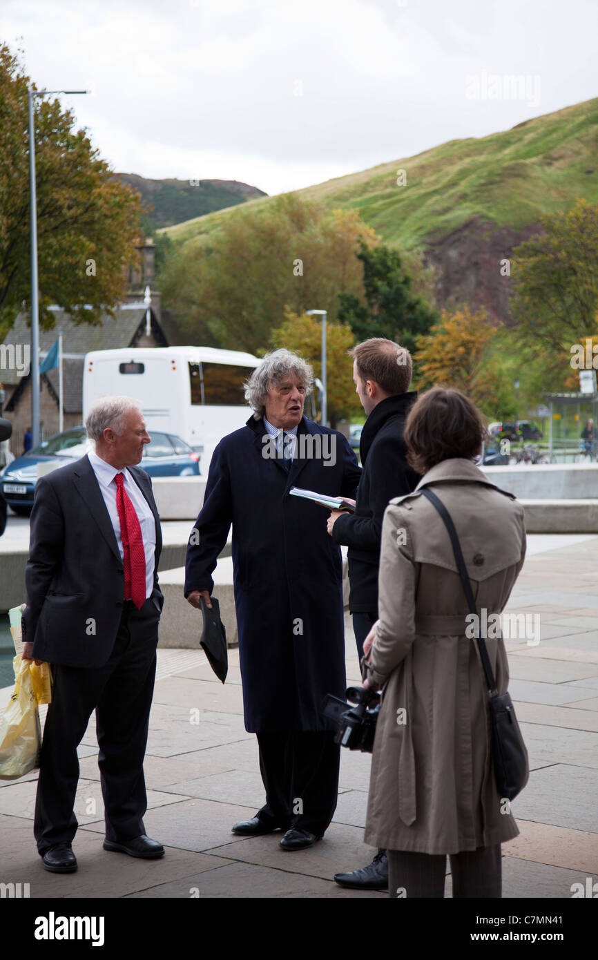 Protest Outside Parliament, Edinburgh, Scotland. Sir Tom Stoppard leads Parliament protest against language funding - Stock Image