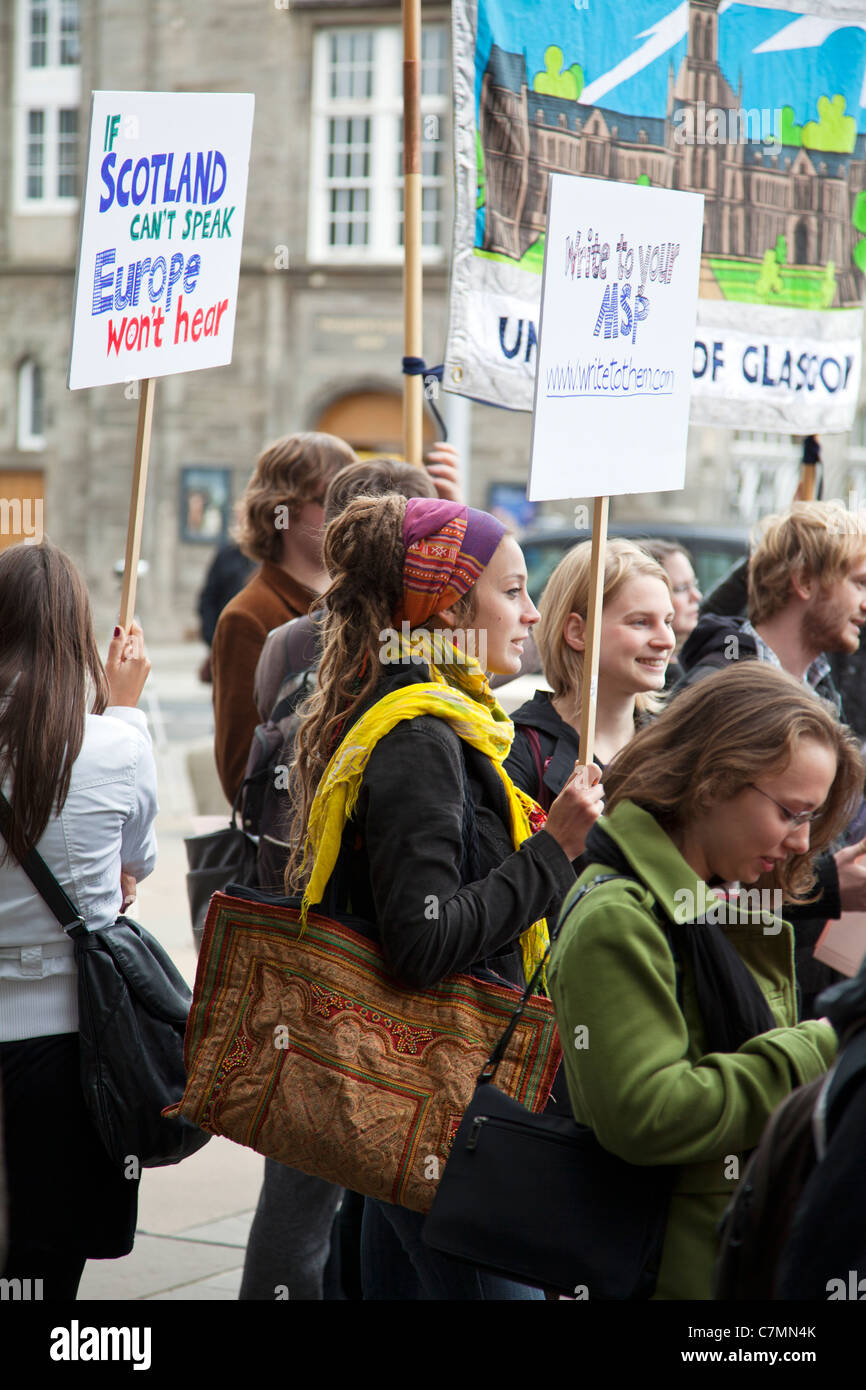 Protest Outside Parliament, Edinburgh, Scotland. Against abolition of learning languages funding cuts - Stock Image