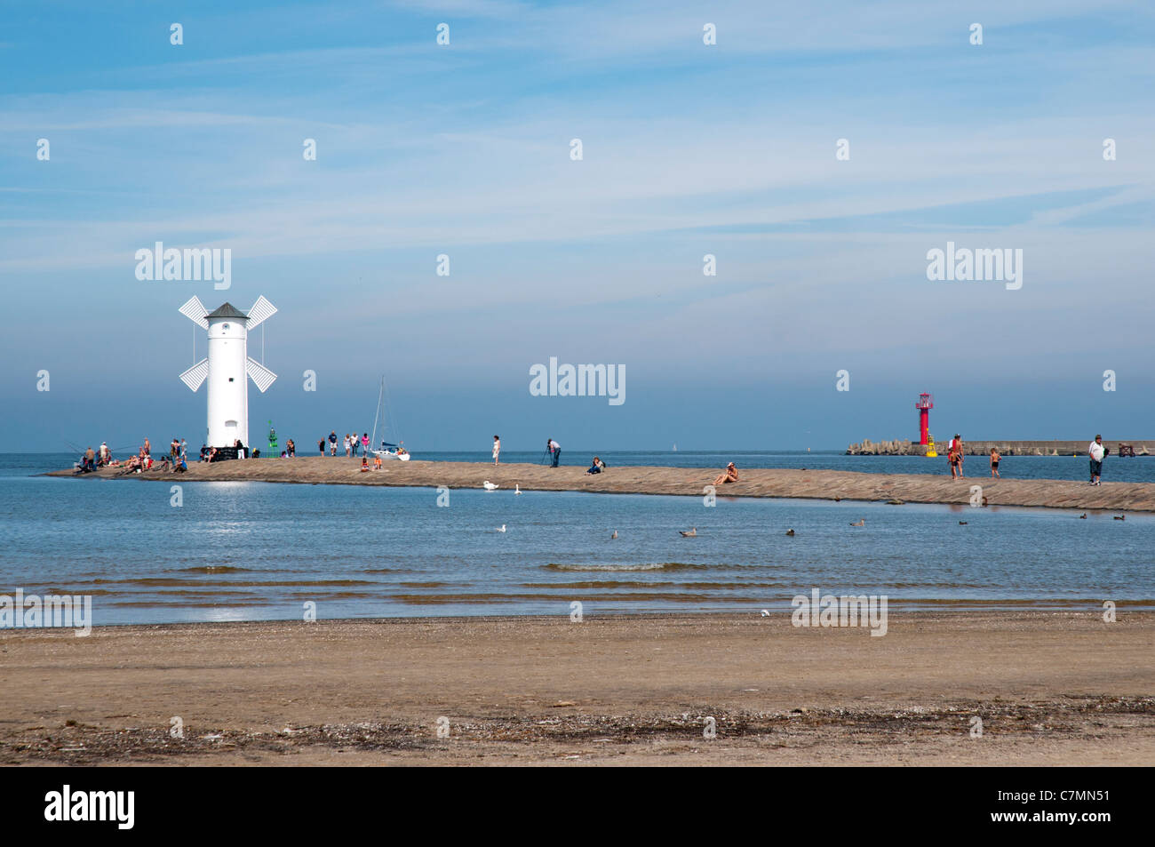"Navigation Beacon ""Windmill"",  Swinoujscie, Baltic Sea, West Pomerania, Poland, Europe Stock Photo"