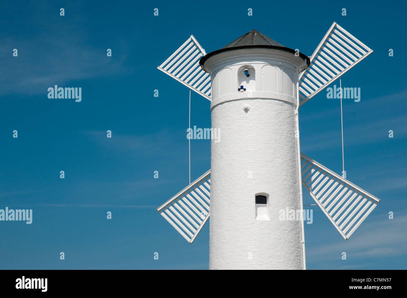 "Navigation Beacon ""Windmill"",  Swinoujscie, Baltic Sea, West Pomerania, Poland, Europe Stock Photo"