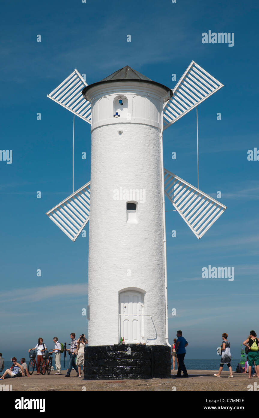 Navigation beacon in the form of a windmill, Swinoujscie, Baltic Sea, West Pomerania, Poland, Europe Stock Photo