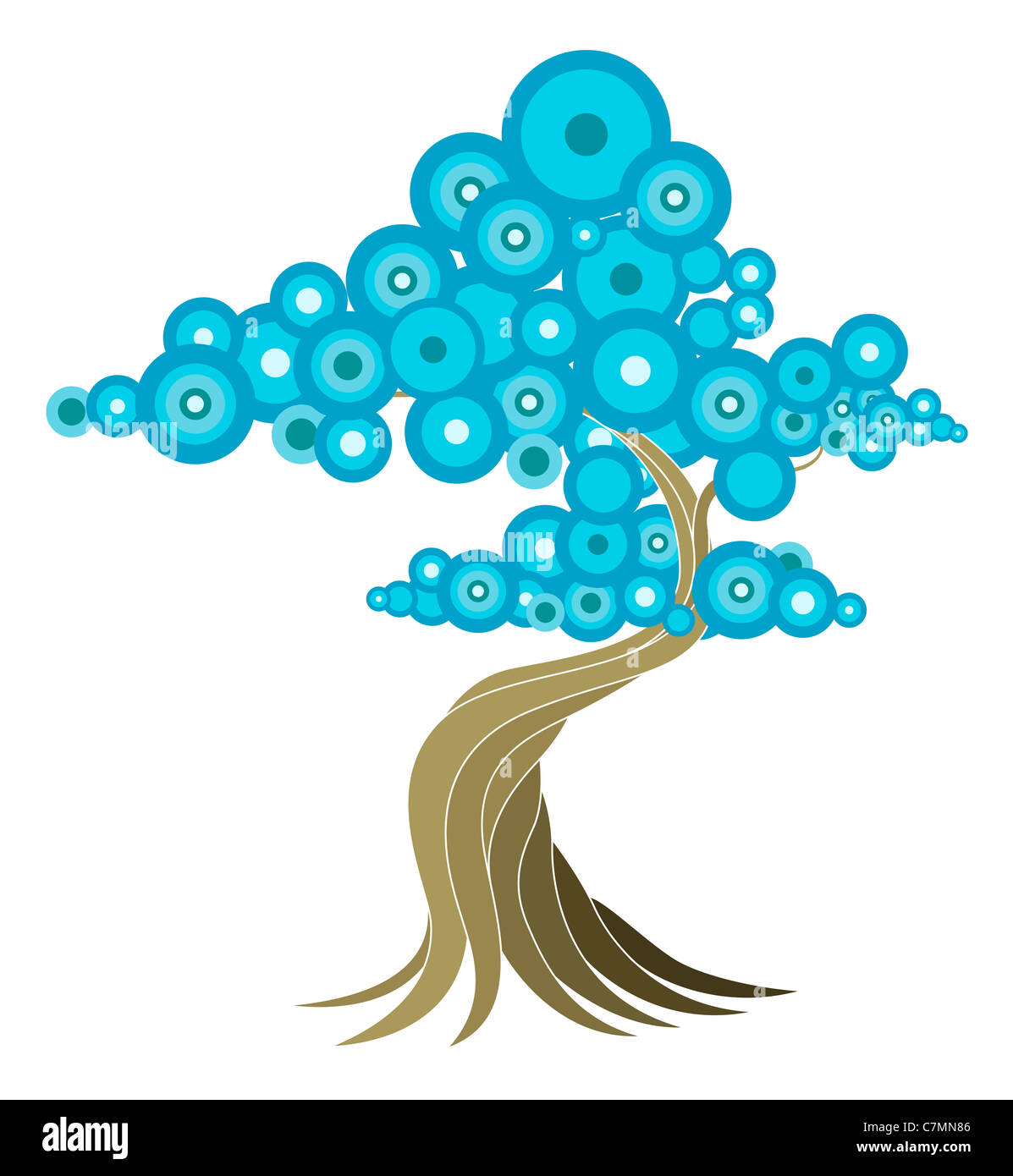 Abstract tree illustration of oriental style tree with blue circles. - Stock Image