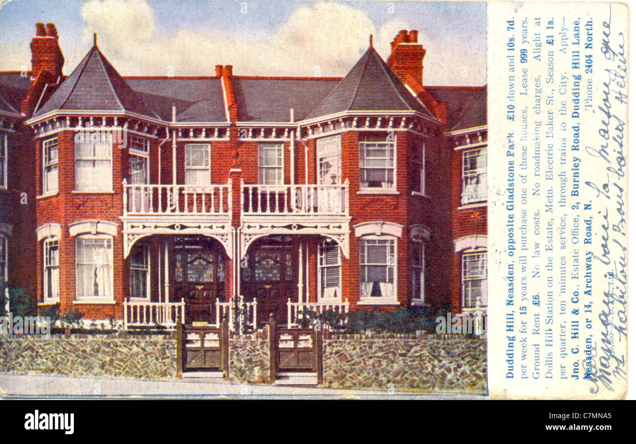 Postcard advertising house for sale - Stock Image