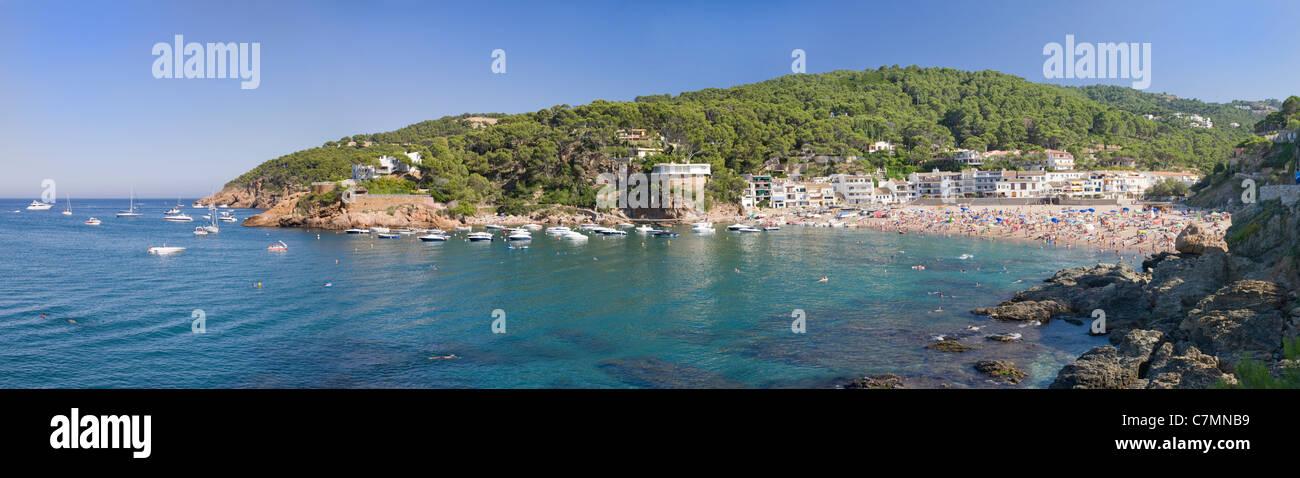 Sa Riera beach and cove, Costa Brava, Catalonia, Spain - Stock Image
