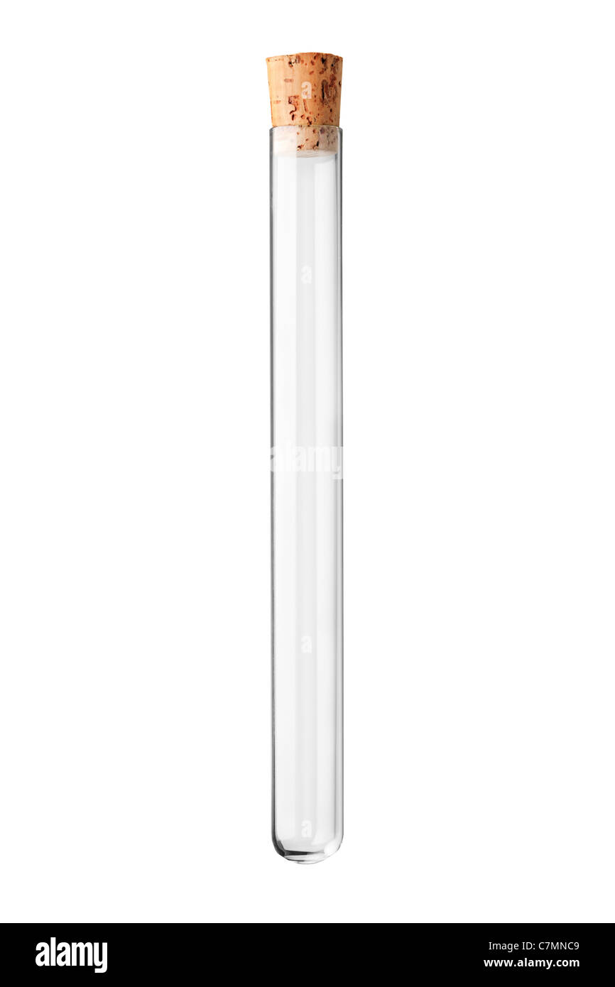 A studio shot of an empty test tube with a cork - Stock Image