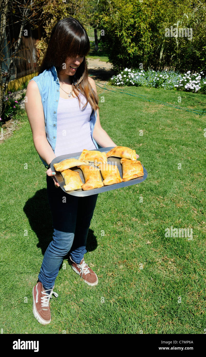 Typical Chilean food, pasty.turnover.Empanada. - Stock Image
