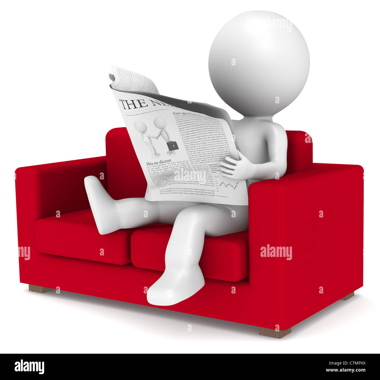 Merveilleux 3D Little Human Character Sitting In The Sofa Reading The News. People  Series.