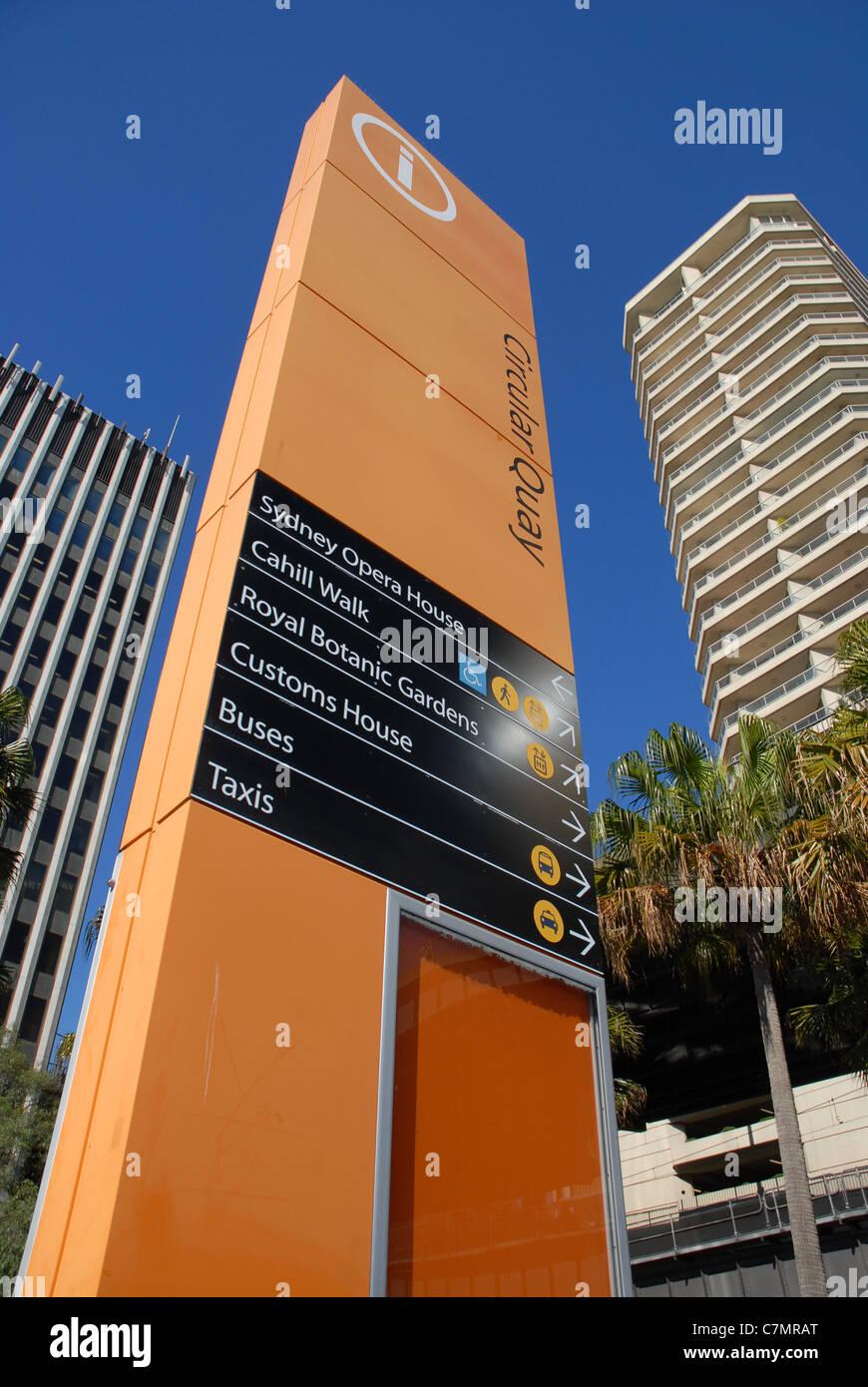Information sign board, Circular Quay, Sydney, NSW, Australia - Stock Image
