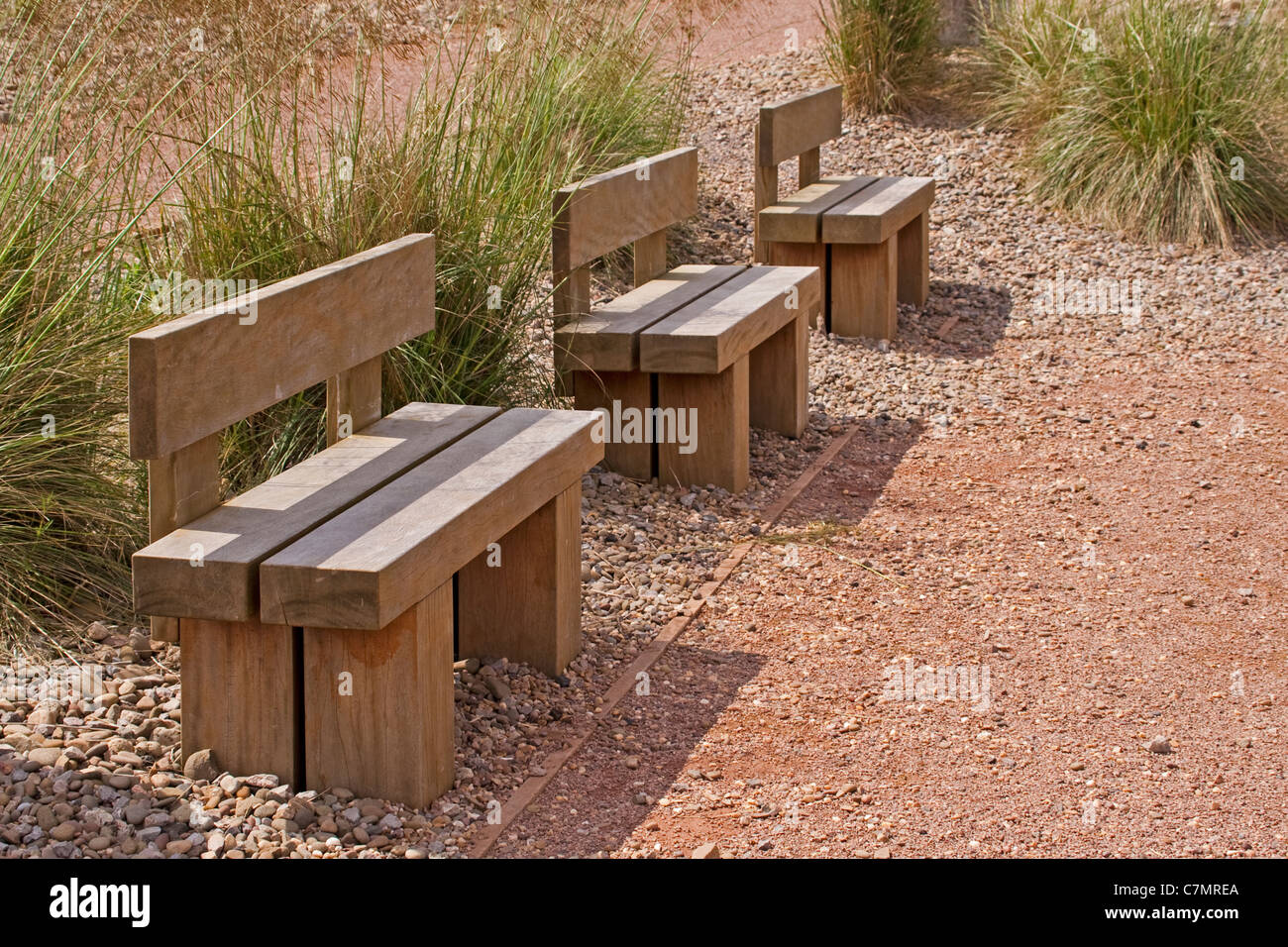 Wooden Park Bench or seat - Stock Image