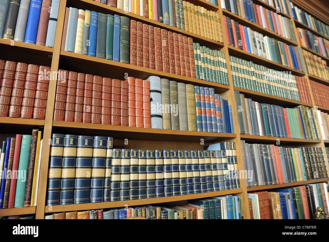 Library books on shelves uk - Stock Image