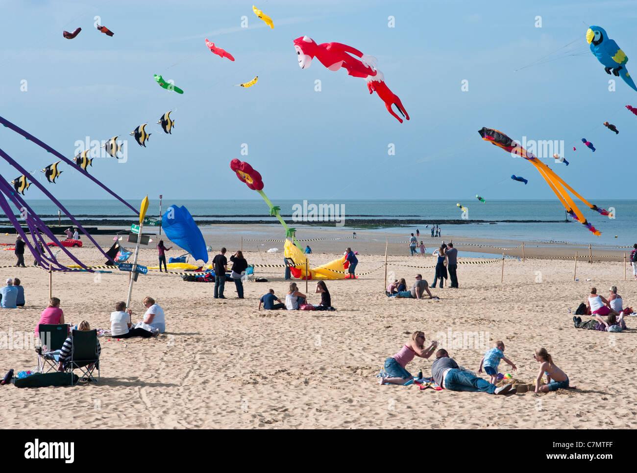 Kite Flying Festival, Margate, Kent, UK, 2011. - Stock Image