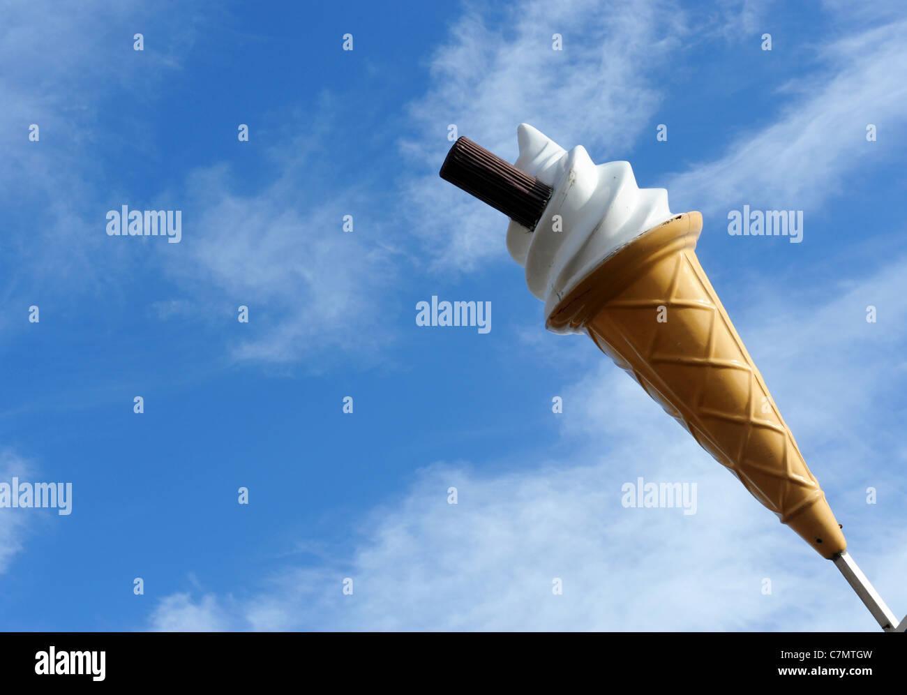 Giant marketing Ice Cream against blue sky Uk - Stock Image
