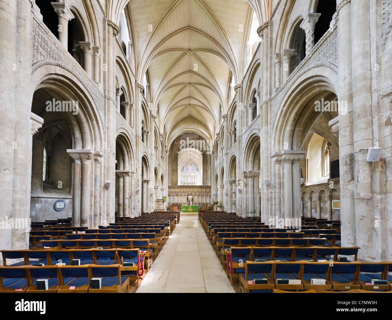 Nave of Christchurch Priory, Christchurch, Dorset, England, UK - Stock Image