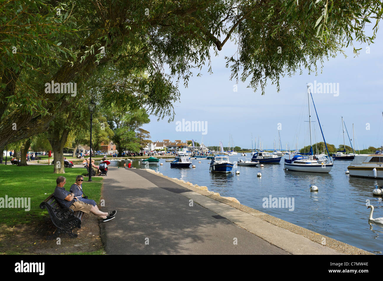 Boats on the River Stour at Town Quay, Christchurch, Dorset, England, UK - Stock Image