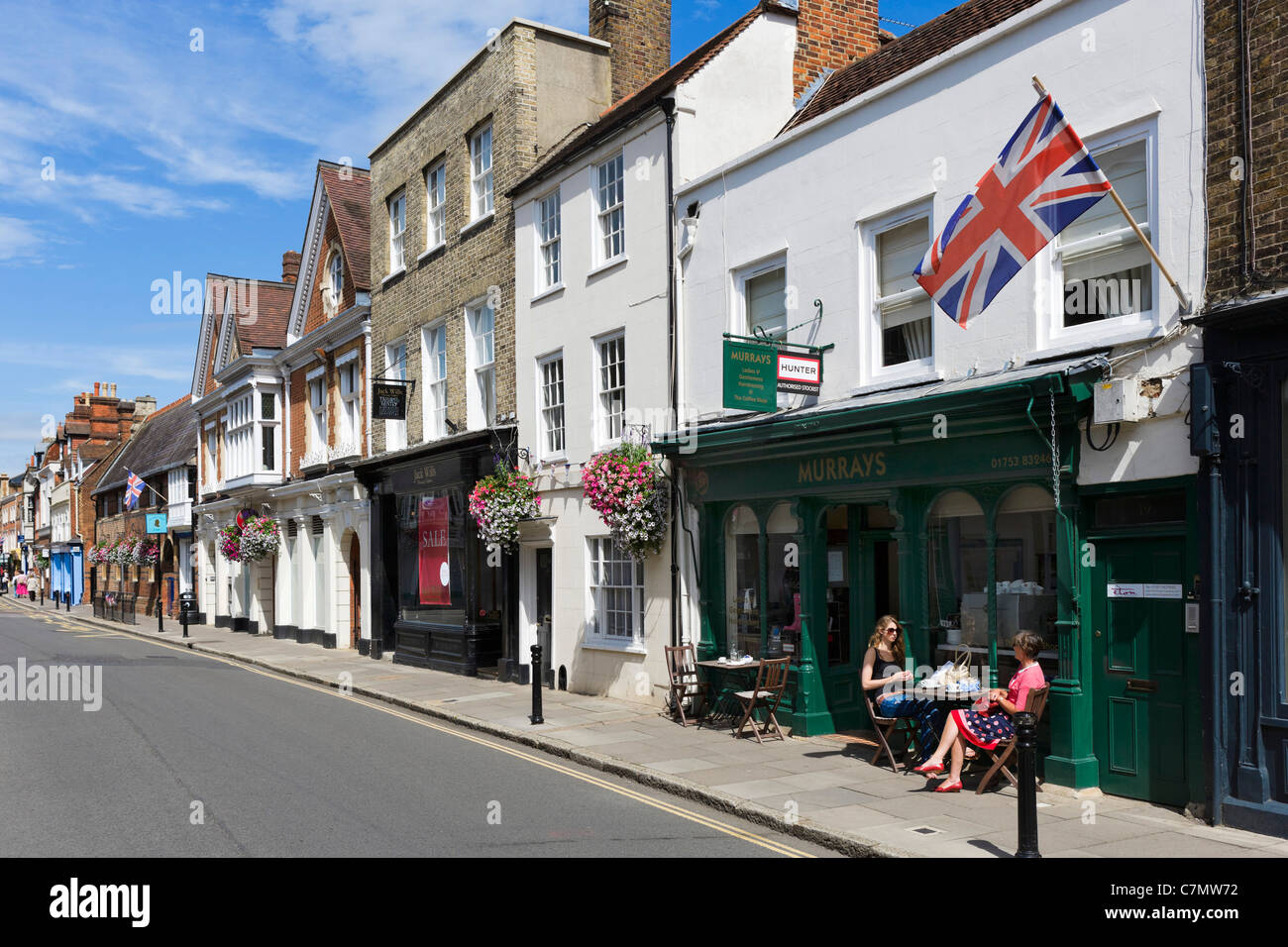 Cafe and shops on the High Street in the town centre, Eton, Berkshire, England, UK Stock Photo