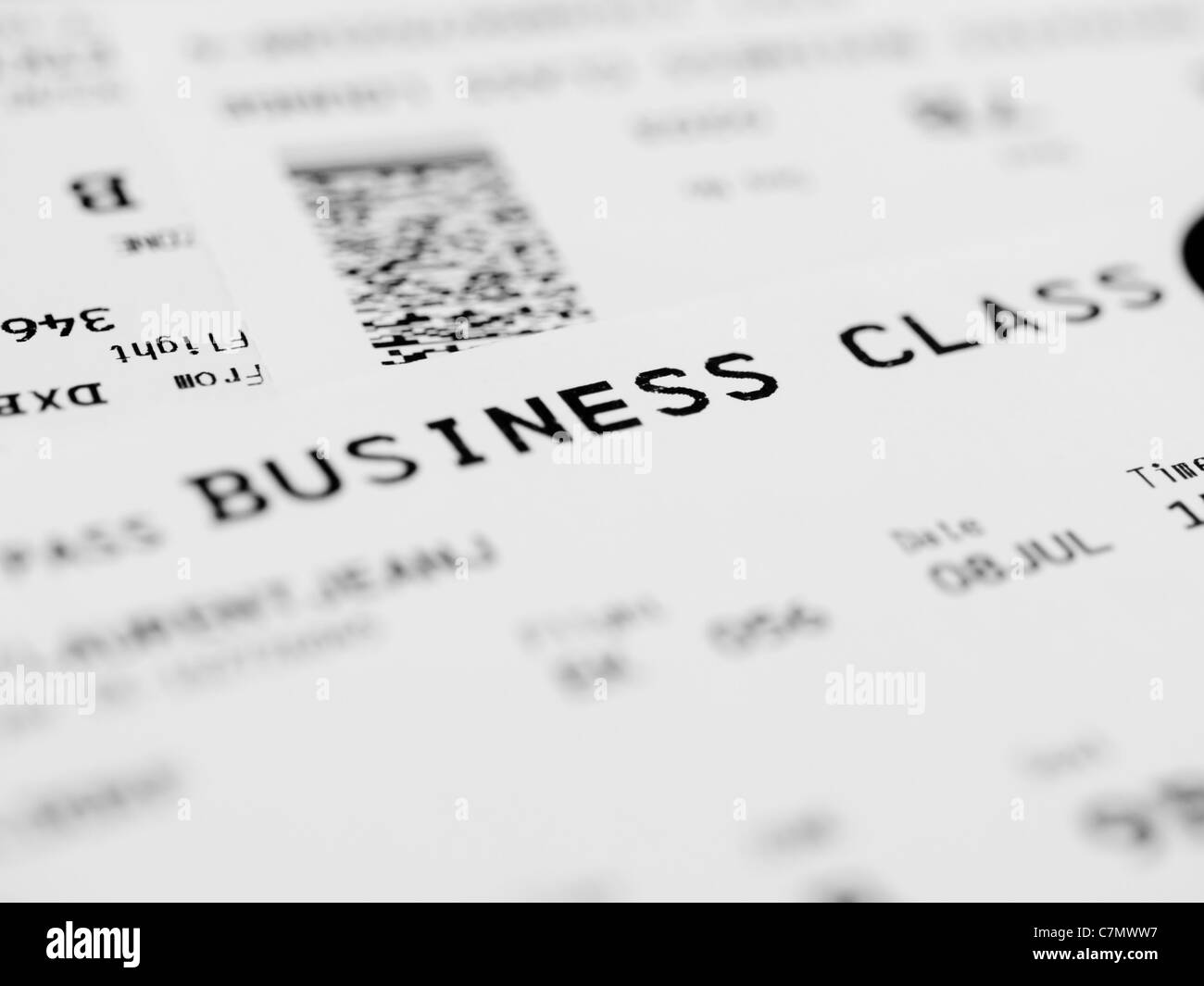 Business class ticket - Stock Image