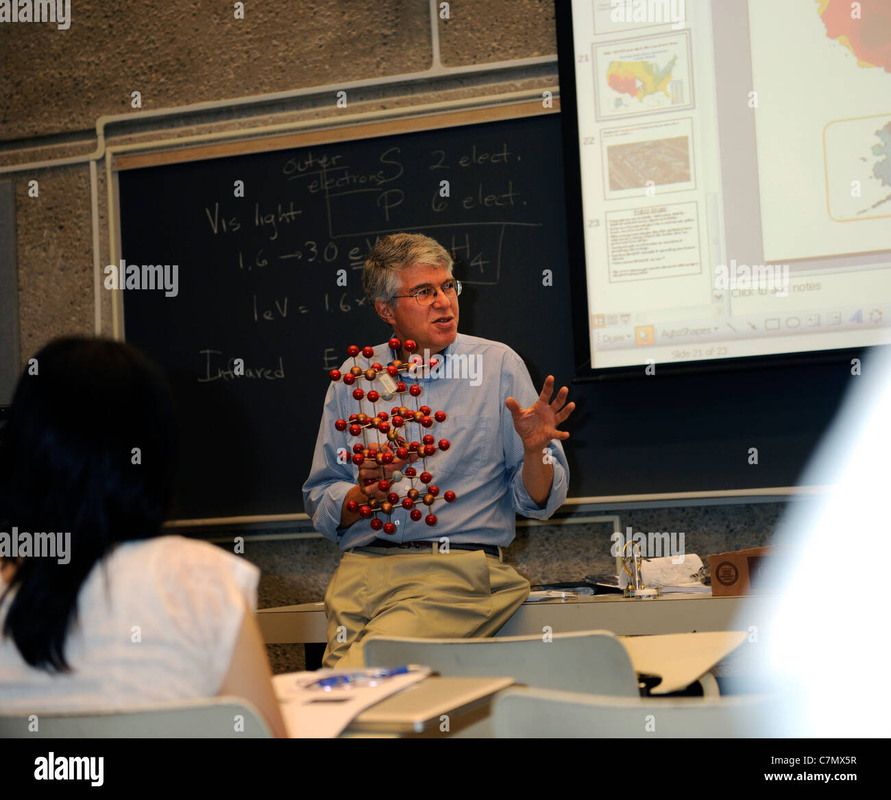 Yale University Physics prof. Daniel Proder teaches course at the Yale Summer School. - Stock Image
