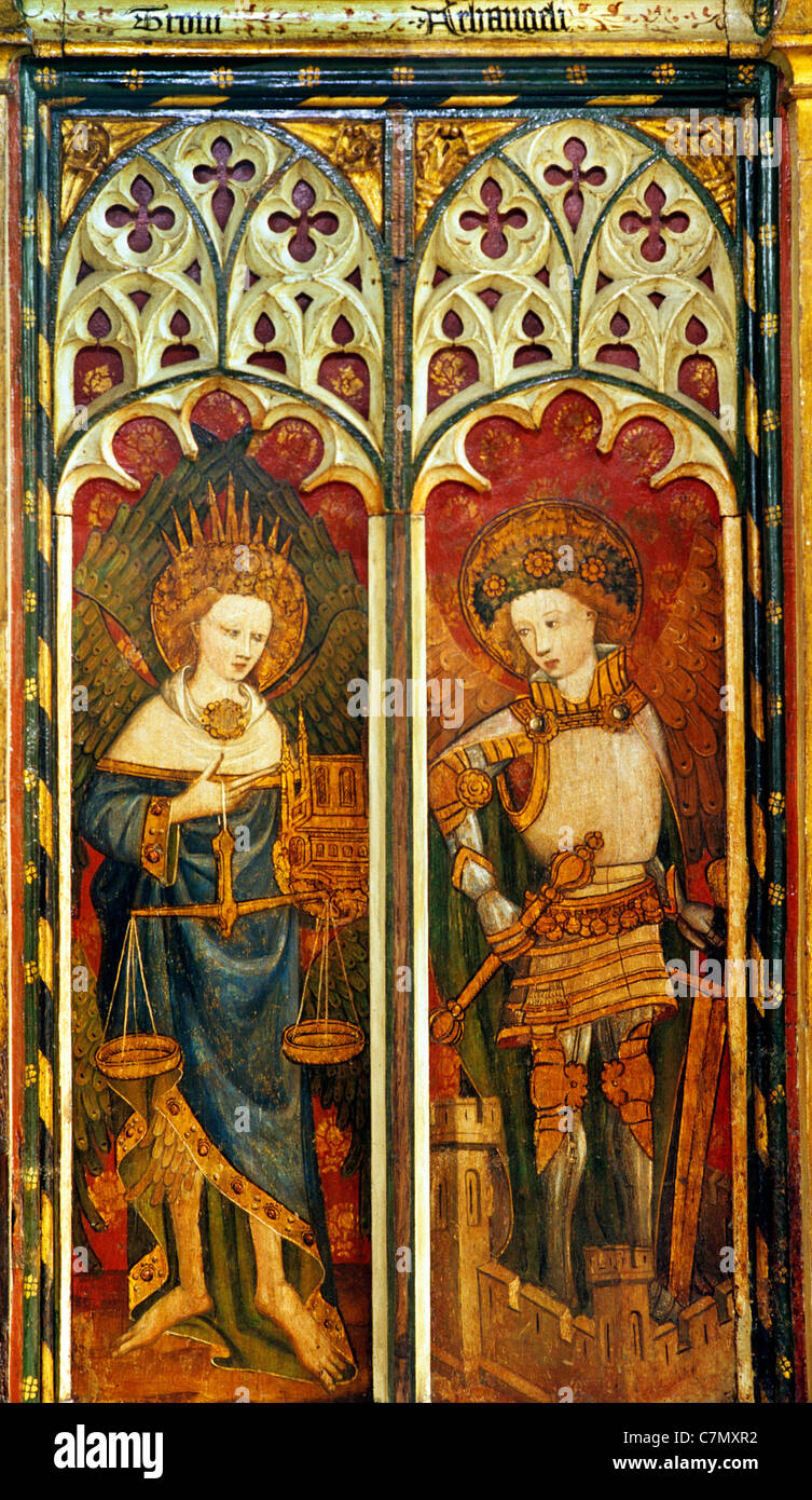Barton Turf, Norfolk, rood screen, Thrones, holding pair of scales, and Archangels, in plate armour, standing on - Stock Image