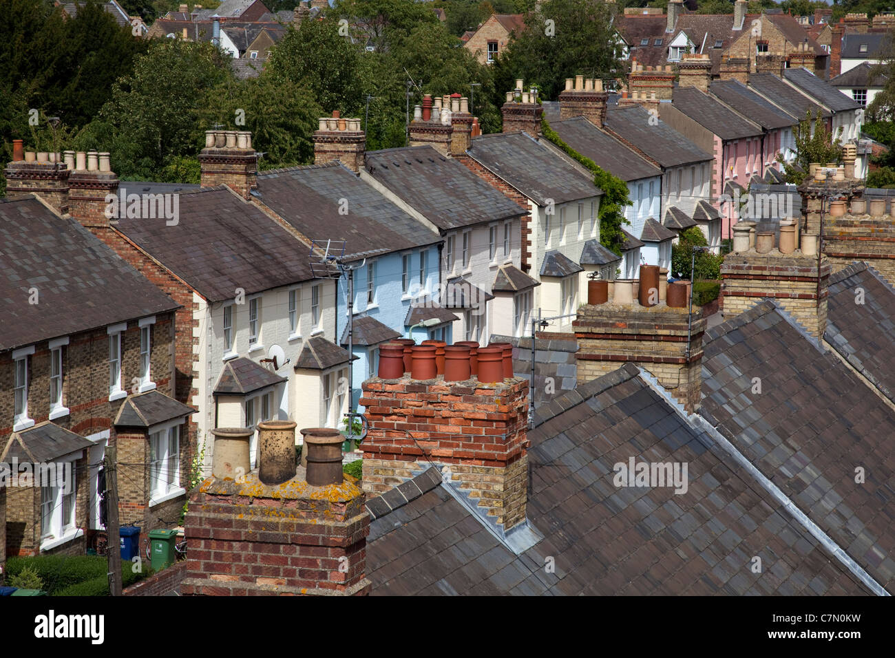 Residential Terraced Housing in Oxford City street, England - Stock Image