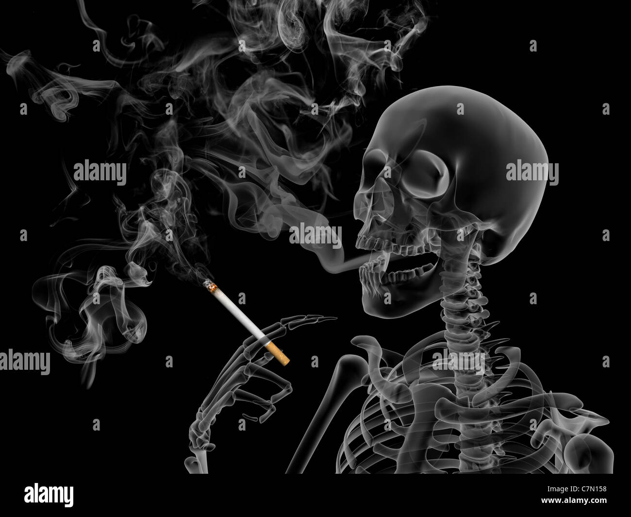 Conceptual 3d render the effects of nicotine smoking - Stock Image