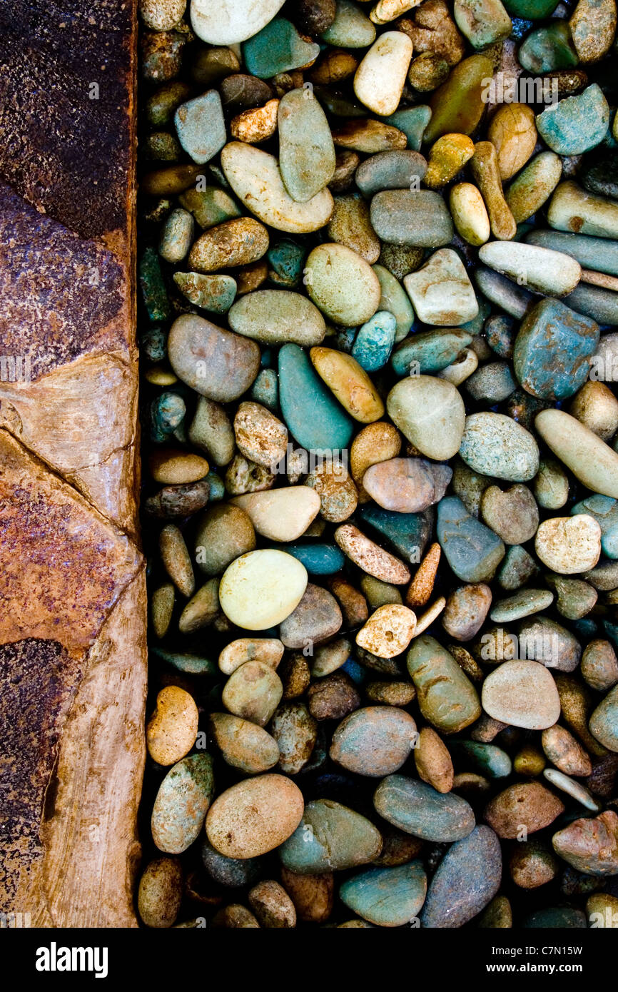 Closeup of some grungy pebbles - Stock Image